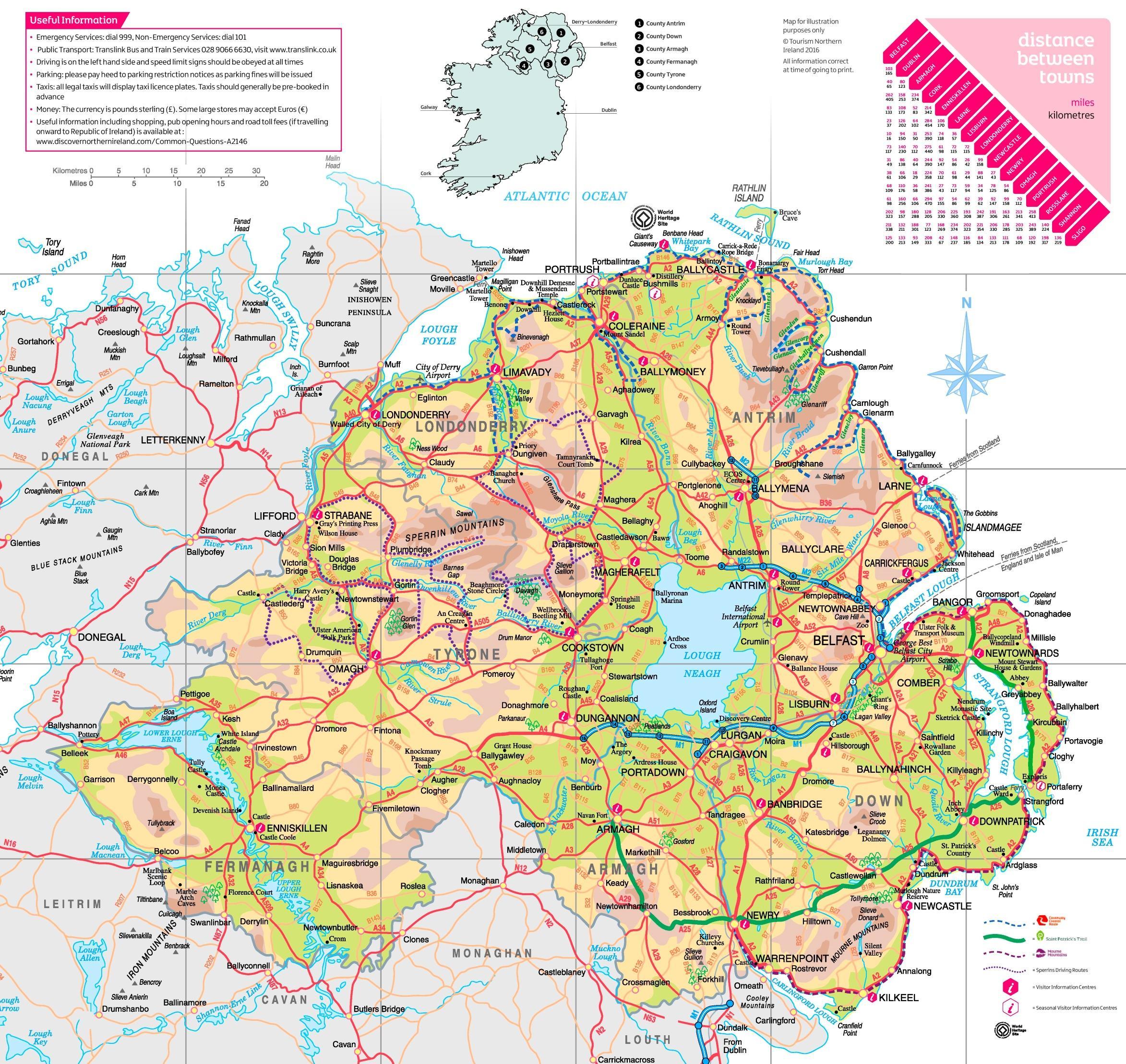 Pohjois Irlannin Tourist Map Pohjois Irlanti Nahtavyydet Kartta