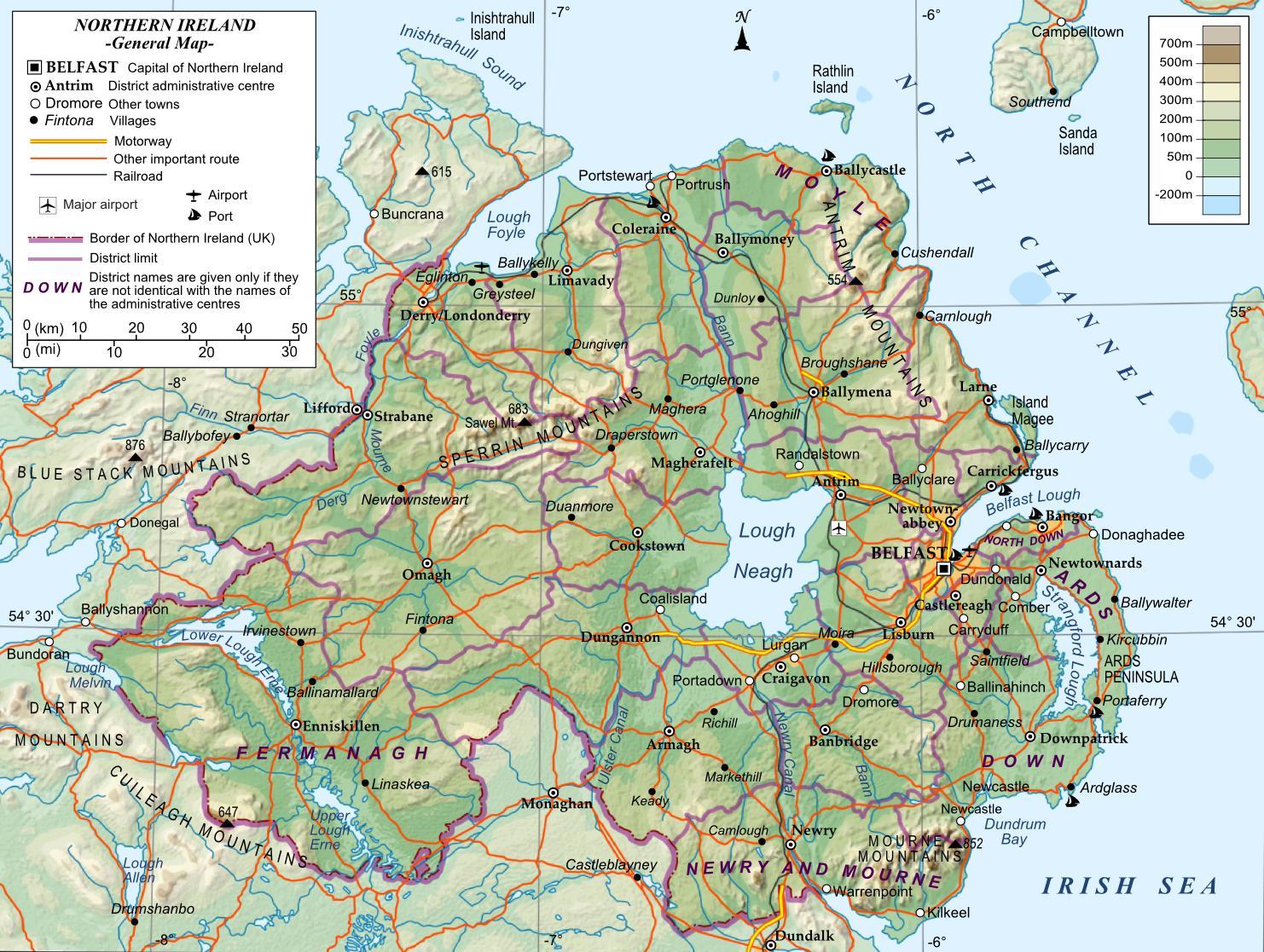 Tiekartta Pohjois Irlanti Street Kartta Northern Ireland