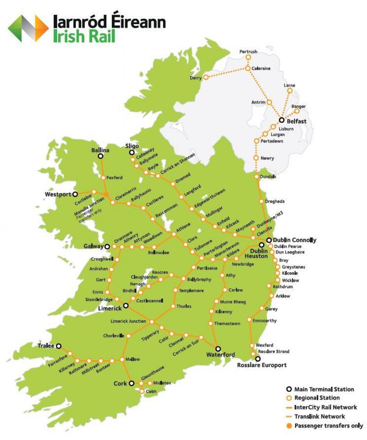 Irlanti Rail Map Rail Travel In Irlanti Kartta Pohjois Eurooppa