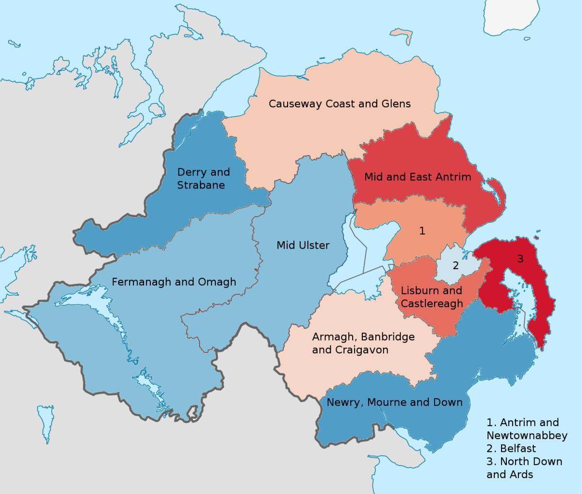Irlanti Pohjois Irlannin Kartta Pohjois Irlanti Kartalla