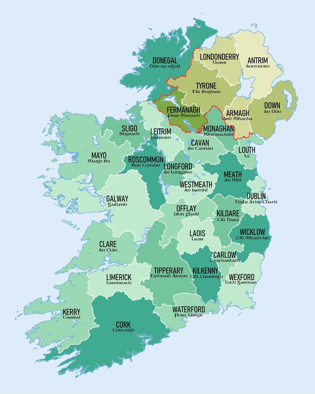 Kartta Etela Irlannin Maakunnat Kartta Etela Irlannissa Osoittaa