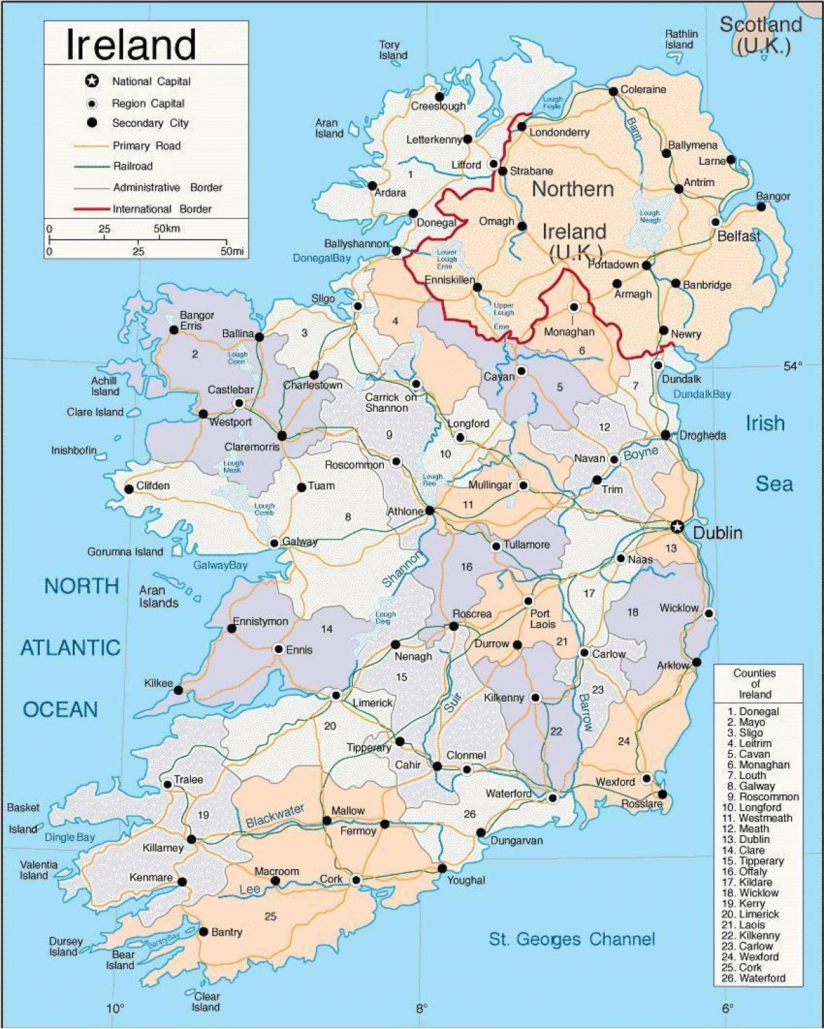 Kartta Irlannin Maakunnat Kartta Irlanti Mukaan Lukien Maakunnat