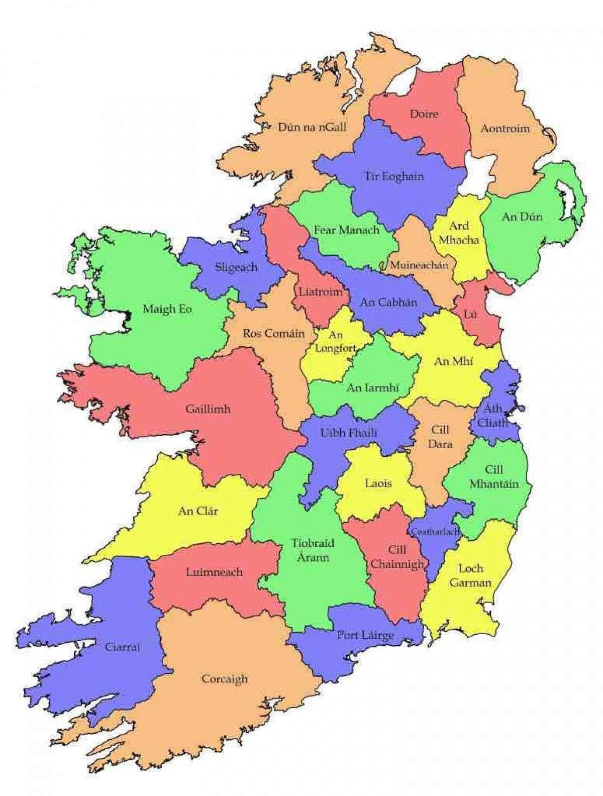 Merkittava Kartta Irlanti Kartta Irlannin County Nimet Pohjois