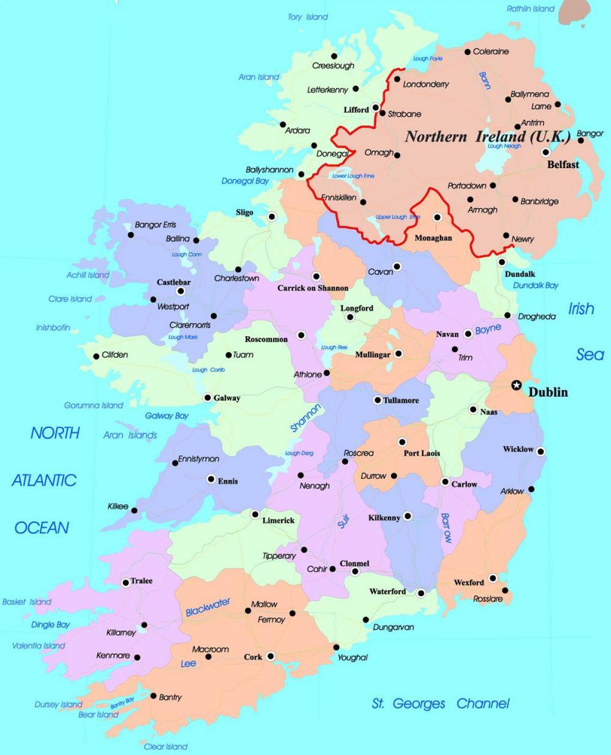 Pohjois Irlannin Poliittinen Kartta Poliittinen Kartta Irlanti
